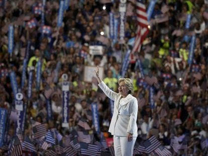 The Democratic candidate receives a standing ovation from delegates in Philadelphia.
