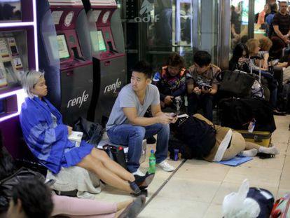 Passengers stuck at Sants station in Barcelona.