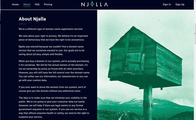 The Njalla website.