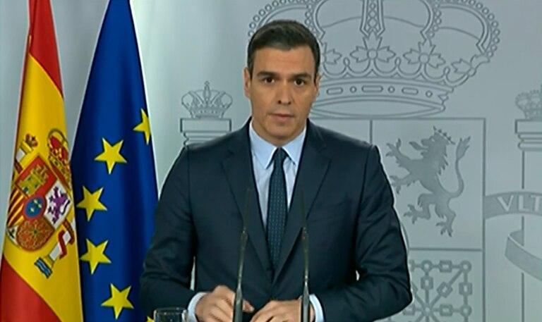 Prime Minister Pedro Sánchez at a press conference on Sunday.