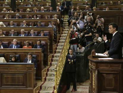 Pedro Sánchez at the investiture debate in Congress.