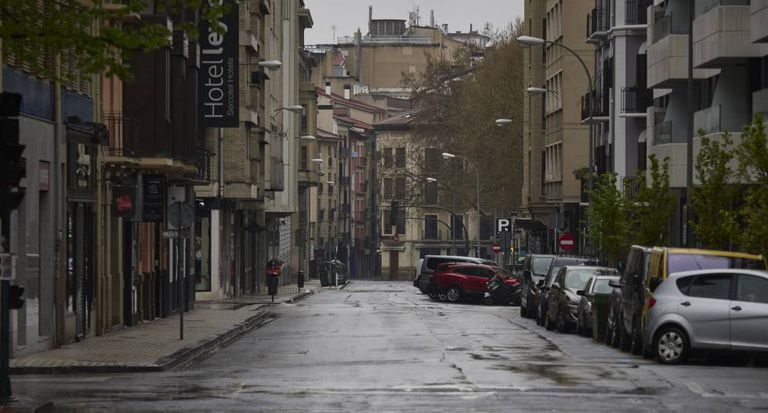 A deserted street in Pamplona on Tuesday.