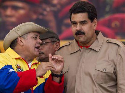 Diosdado Cabello (left) and President Nicolás Maduro seen on February 15 in Caracas.