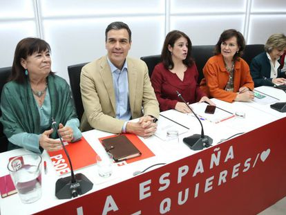 Pedro Sánchez at a PSOE leadership meeting on Monday.
