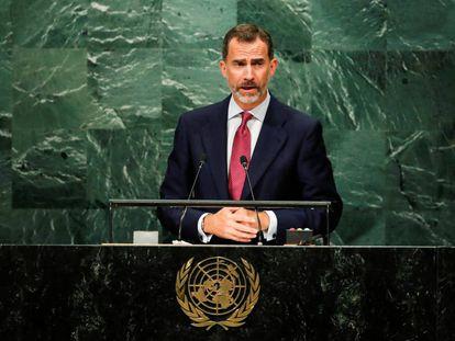 King Felipe VI of Spain addresses the United Nations General Assembly.
