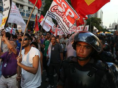 Brazilians hold a protest in São Paulo on Saturday.