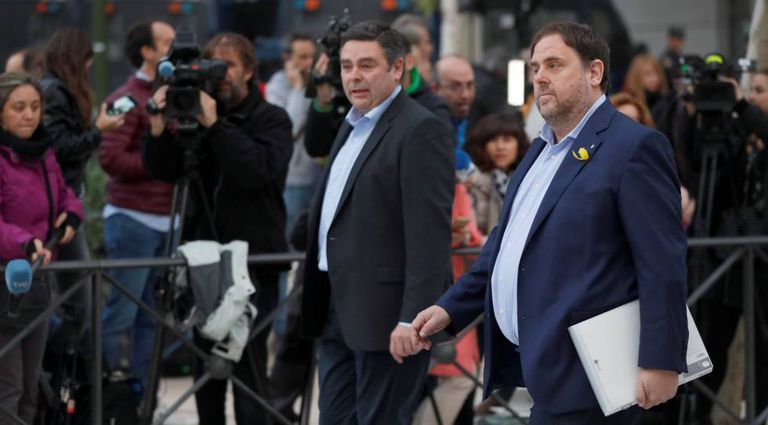 Former deputy premier of Catalonia Oriol Junqueras arrives at the High Court.