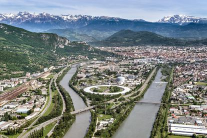 The synchrotron in Grenoble (France) with its trademark circular shape.