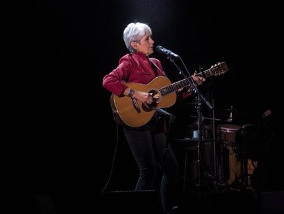 Joan Baez at a concert in New York last May.