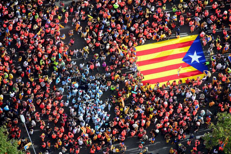 Demonstrators at the Diada march in Barcelona on Tuesday.