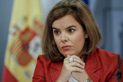 Soraya Sáenz de Santamaría during Friday's press conference.
