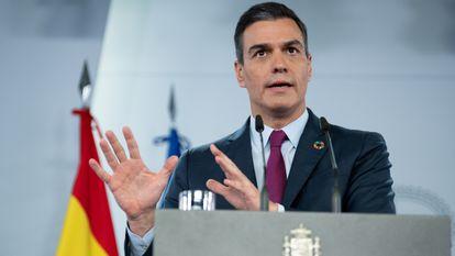 Spanish Prime Minister Pedro Sánchez at a press conference on Sunday.