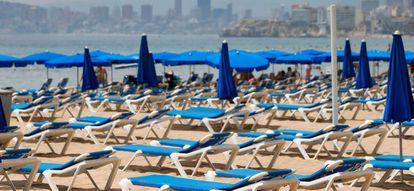 Empty sun loungers in the popular tourist destination of Benidorm on August 1.