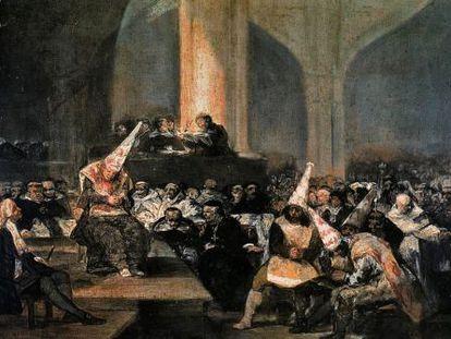 Goya's The Inquisition Tribunal (1812-1819), part of the Real Academia de Bellas Artes de San Fernando's collection.