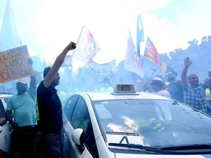 Taxi drivers striking in Madrid on Tuesday.