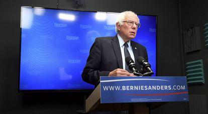 Bernie Sanders delivers a speech to supporters via live stream.