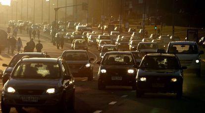 Traffic in Monte Video, Uruguay.