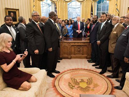 Trump, his adviser Kellyanne Conway and African-American university leaders.