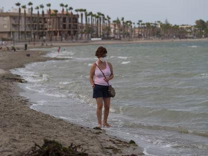 The empty beach in Los Alcázares, on Murcia's saltwater lagoon known as Mar Menor.