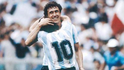 Jorge Valdano embraces Maradona during the 1986 World Cup.