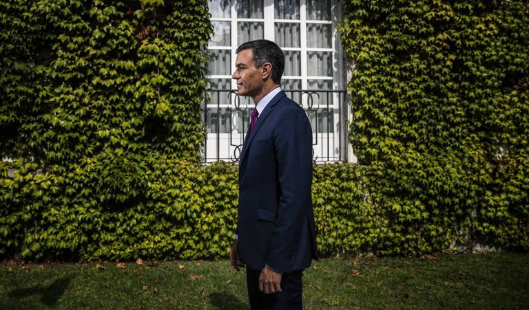 Acting Spanish Prime Minister Pedro Sánchez, pictured on Friday in the gardens at La Moncloa palace.