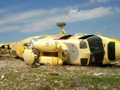 A crashed helicopter abandoned in Níjar, Almería in April.