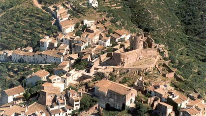 An aerial view of Vilafamés, Castellón.