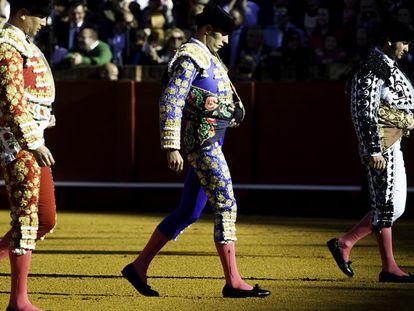 Alejandro Talavante, José María Manzanares and Morante de la Puebla during a bullfight on Easter Sunday in Seville.