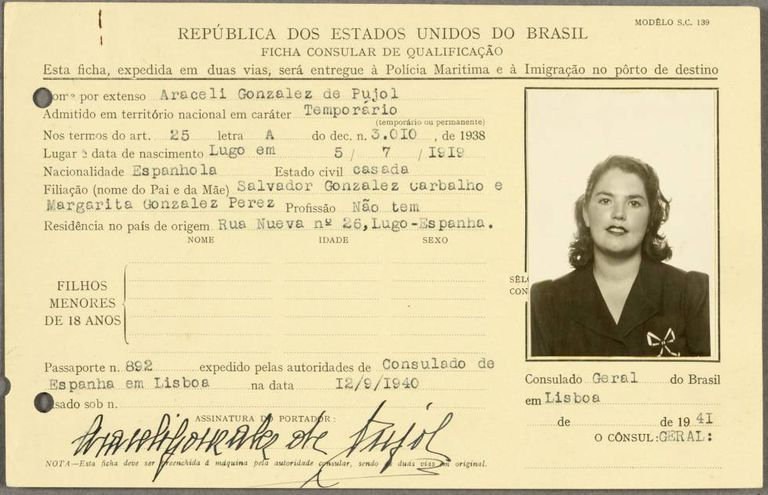 Araceli González's ID, released by Britain's National Archives.