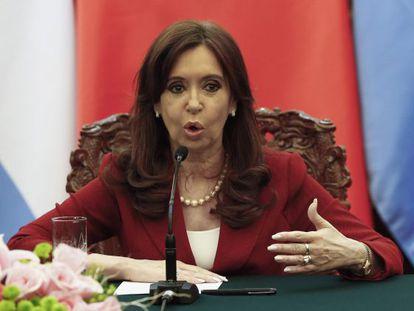 President Cristina Fernández de Kirchner speaks in Beijing on Wednesday.