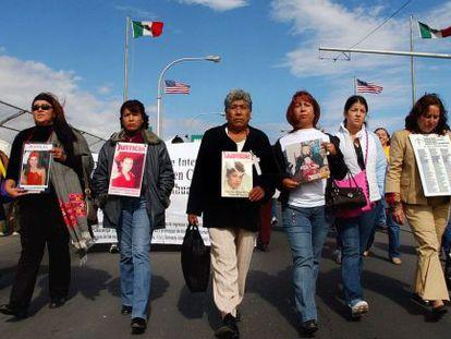 Women march in memory of femicide victims in Ciudad Juárez.