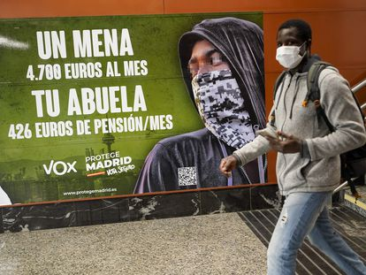 A Vox billboard against migrant minors in Madrid.