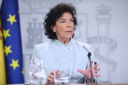 Government spokeswoman Isabel Celaá at the press conference after the Cabinet meeting.
