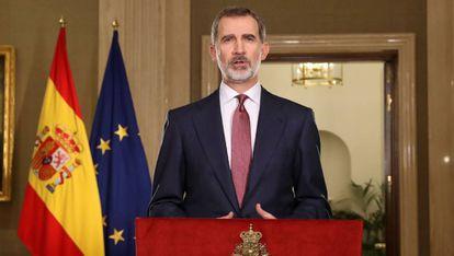 King Felipe VI delivers a national address on the coronavirus crisis.