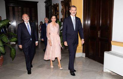 Spanish King Felipe VI and Queen Letizia during the gala dinner on Wednesday.
