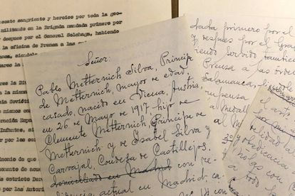 A draft of the document by the Viennese Prince Pablo Metternich in which he asks Franco for Spanish nationality.