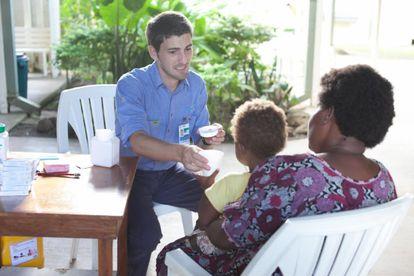 Spanish medic Oriol Mitjà on the island of Lihir in Papua New Guinea.