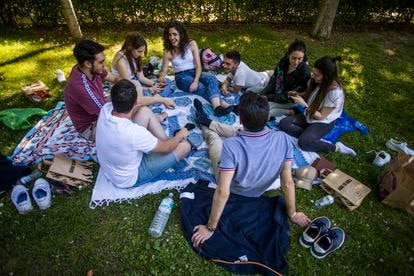 Youngsters in Retiro Park, in Madrid.