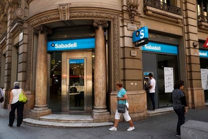 A Banco Sabadell branch office in Barcelona.