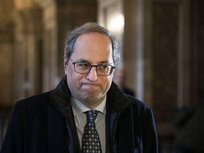Quim Torra in the Catalan parliament.