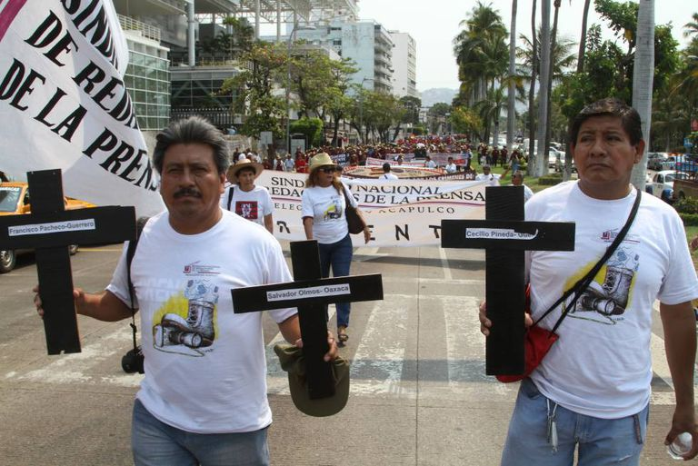 A march against journalist murders in Acapulco on Monday.