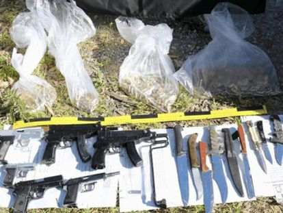 Material found inside the weapons cache in Ceuta last week.