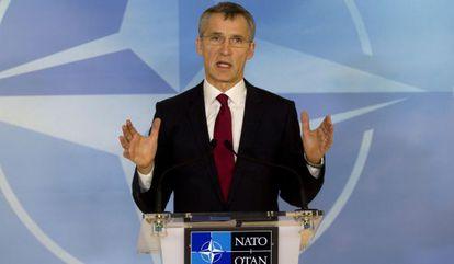 NATO secretary general Jens Stoltenberg addresses the press on Thursday in Brussels.