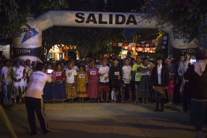 At 6am on the day of the ultramarathon, competitors line up in the main square of Urique to begin the 80-kilometer race.