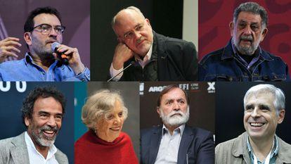 Left to right: Antonio Helguera, Lorenzo Meyer, Pedro Miguel, Damián Alcázar, Elena Poniatowska, Epigmenio Ibarra and Rafael Barajas, aka El Fisgón.