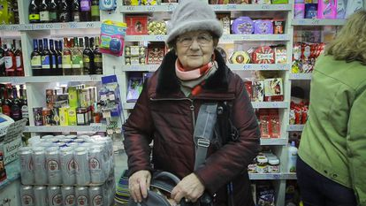 Mrs Irén at the Budapest market where she goes every day.