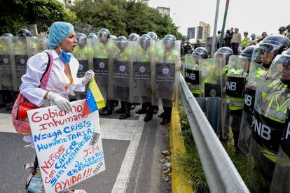 A February protest in Caracas over lack of medicines.