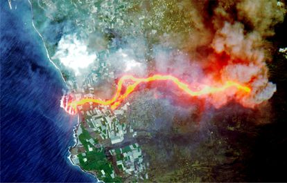 Satellite picture of lava flow following the eruption of a volcano on the island of La Palma.