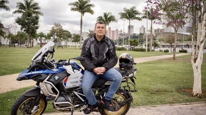 Vinicius Piblio Monteiro, a member of the military police, with his motorcycle in São Paulo on June 23.