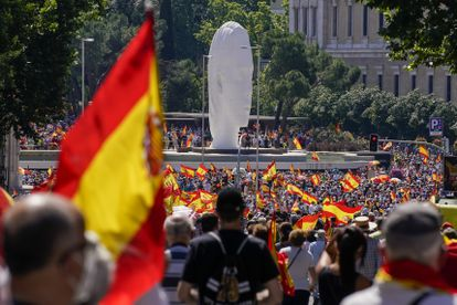 A protest against the pardons held in Madrid on June 13.